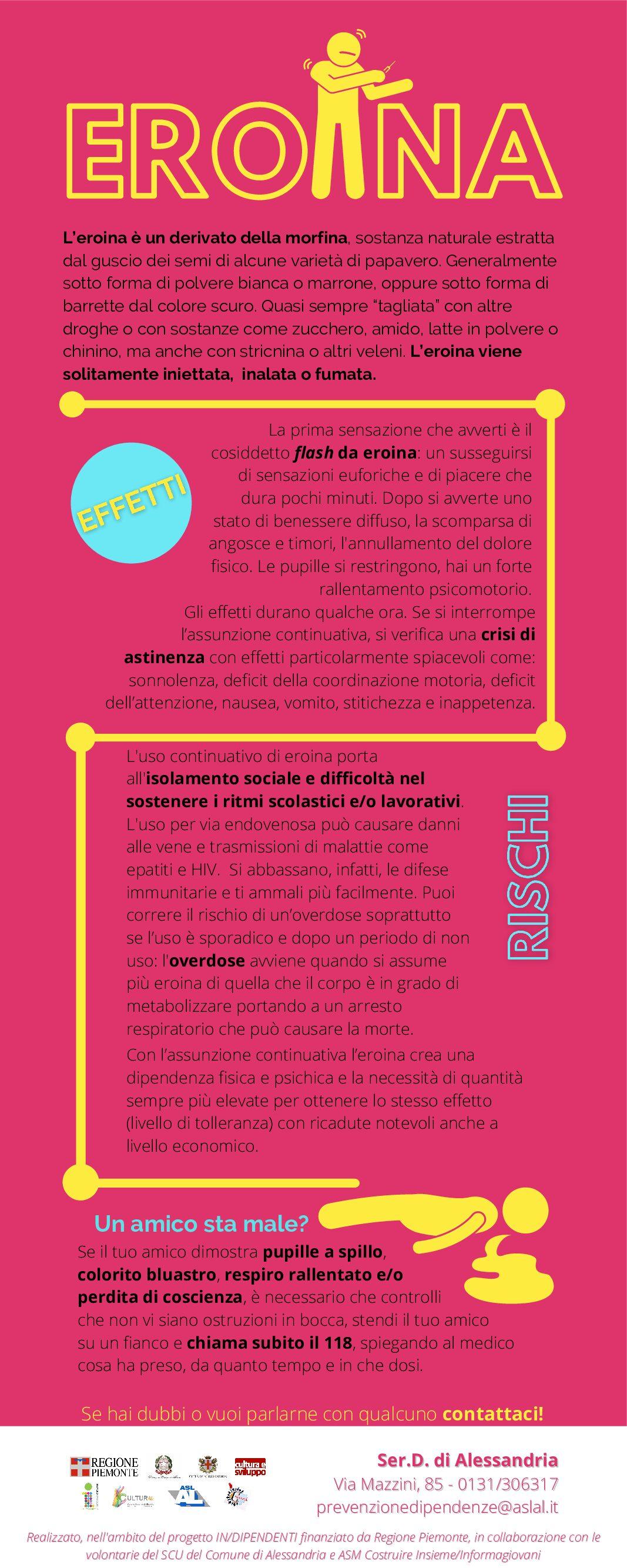 Infografiche per conoscere le principali sostanze e i loro effetti